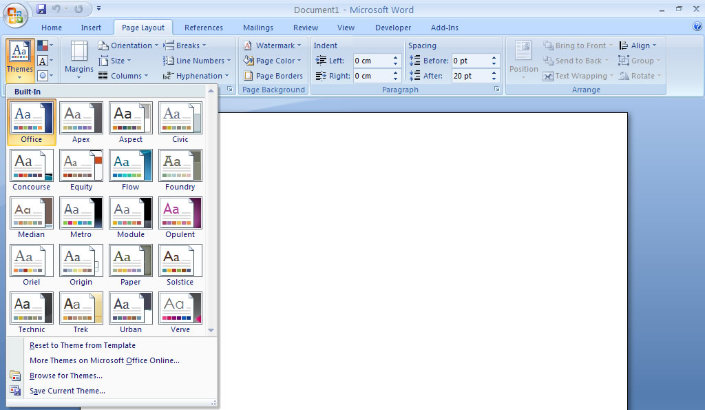 themes for microsoft word