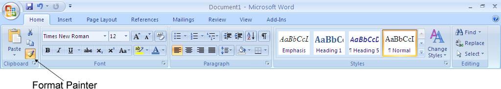 Microsoft Word 2007 Format Painter